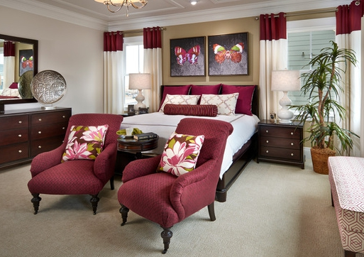master bedroom with fabric
